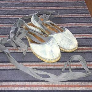 TOMS Blue Suede Ankle-Tie Espadrilles
